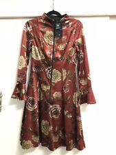 Cue Floral Velvet Dress Burgundy Red Size 8
