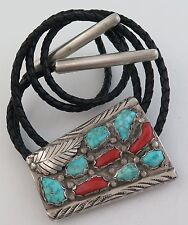 Quality Large Sterling Silver Turquoise and Coral Cluster Custom Tip Bolo Tie