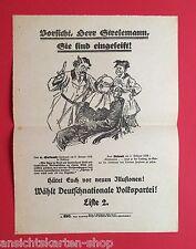 Flugblatt DNVP um 1928 Stresemann Karikatur     (  F11569