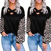 Womens Casual Leopard Print V Neck Blouse Long Sleeve Loose Fashion T Shirt Tops