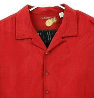 Carribean Pineapple Mens XL Red Leaf Pattern Hawaiian Camp Shirt Cotton Silk