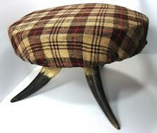 "VTG Pre-1930's 10.5"" Round 3-Horn Leg Foot Stool Tan Brown Wood Plaid Top"