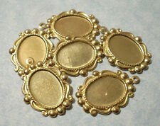 6pc Brass Oval Pendant Settings for 14x10 Flat Back Cabochons or Stones