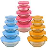 5 PCS Glass Bowl Set with Lid Food Storage Microwave Dishwasher and Freezer Safe