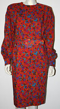 GIVENCHY Vintage Red Blue Purple Abstract Wool LS Dress Belt M 8 10 12