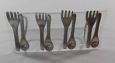 Food Network Fork Spoon Stainless Steel Napkin Rings Set of 4