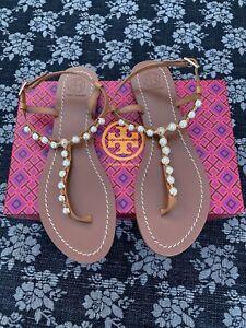 Tory Burch Emmy Pearl Thong T Strap Sandal Size 9.5 Tan