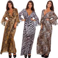 Vestito donna ruches leopardato pitonato velato animalier abito sexy GI-2131