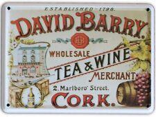 DAVID BARRY IRISH TEA & WINE Small Vintage Metal Tin Pub Sign