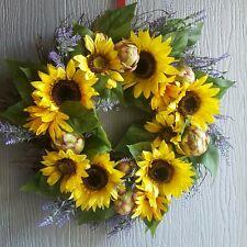 Sunflower Summer Wreath, artichoke Faux  Wreath Spring wreath yellow, green .