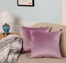 Velvet Throw Pillow Cases 4 Piece a set, 18'x18' Purple Pink