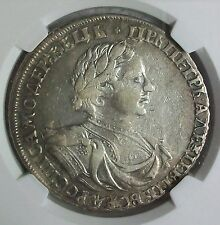≠АΨКΘI (1719) OК RUSSIA PETER I THE GREAT SILVER ROUBLE NGC VF-35 L@@K