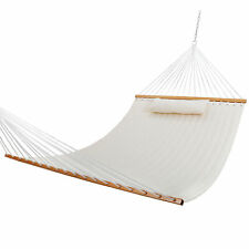 Double Hammock Quilted Fabric Sleeping Bed Swing Hang W/ Pillow 2 Person White