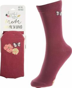 "Pavilion Ladies Knee Highs ""Mom You Are So Loved"" - Pink Floral Butterfly, NEW"