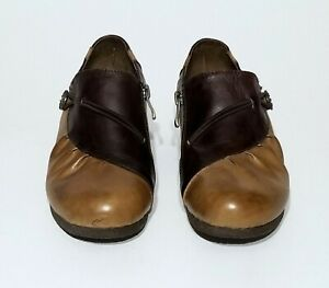 L'Artiste by Spring Step Slip On Shoes 2 Tone Brown Pleated Leather Zipper Sz 6