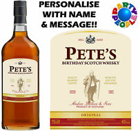 PERSONALISED SCOTCH WHISKY BOTTLE LABEL - ANY NAME & MESSAGE - GIFT FOR DAD!
