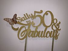 Personalised Glitter Fabulous 50 Butterfly Cake Topper Happy Birthday Name Age