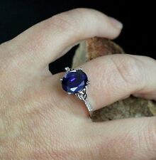 2ct Sapphire & Diamond 14K White Gold Celtic Knot Oval Engagement Ring