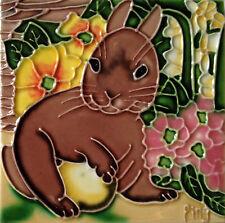 "Bunny Rabbit Art Tile 4""x4"" Pink Flowers Decorative Ceramic New Backsplash Brown"