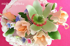 Large Gum Paste Light Peach Rose, Pastel Green Orchid Cake Decorating Flowers