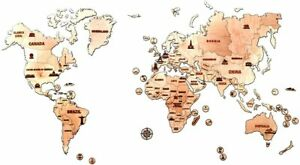Wood trick 3D Wooden World Map L Size 39 x 23 Inch