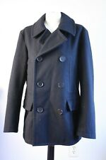 FOSSIL M Black 100% Wool Double Breasted Pea Coat Jacket USA