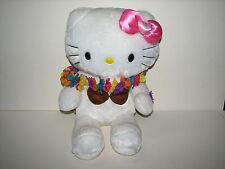 "Build A Bear White Sanrio Hello Kitty Plush Stuffed Doll w Pink Bow Hawaiian 17"""