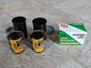Lot 3 Kodak Gold & Fuji HG 1600 Color Print Film Rolls (35 mm) 24 Exp - EXIPRED