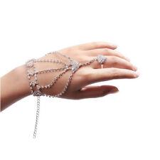 Gift  Fashion Women Girl Rhinestone Hand Bangle Chain Link Finger Ring Bracelet