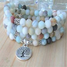 6mm Amazonite Stone 108 Beads mala Bracelet necklace Buddhism Handmade Ruyi