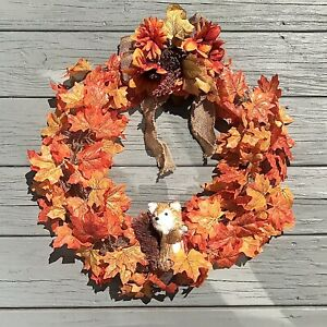 Handmade Autumn LED Wreath Fall Decor Light Up Rustic Farmhouse Holiday