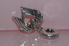 Authentic PANDORA #789296c01 Angel Wings & Heart Dangle Charm Rose Collection