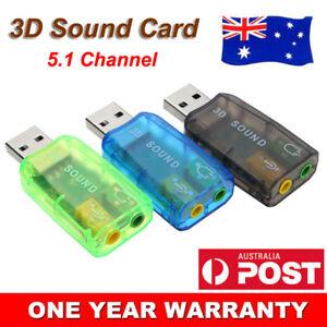 USB External Sound Card Audio 5.1 Adapter Mic Speaker Interface For Laptop PC AU