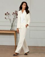 Pure Collection Women's Size 14 Ivory Trouser Suit Linen Cotton Blend