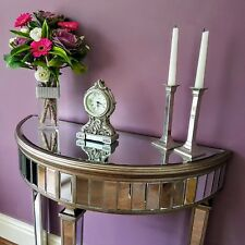 Venetian Style Mirrored Glass Table Half Moon Hall Console Aged Champagne Silver