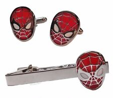 Marvel Comics SPIDERMAN Face Silvertone/Enamel CUFFLINKS & TIE CLIP SET