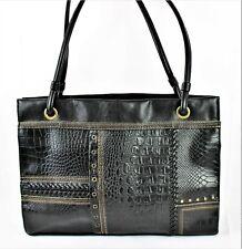 WOMENS Black Faux Croc Vegan Leather Laptop Business Briefcase Tote Shoulder Bag