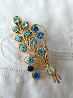 VINTAGE 40s Blue Turquoise Diamante Paste Flower Spray Gold Retro Pin Brooch