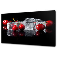 ICE RED CHERRIES CANVAS PRINT PICTURE WALL ART KITCHEN DECOR FREE DELOVERY