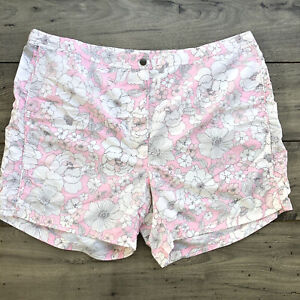 Eddie Bauer Womens 24W Plus Pink White Floral Active Beach Shorts E22
