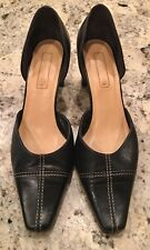 Unisa Black Leather Pumps With Beige Stitching 7B Made In Spain. Orig. 125 Euros