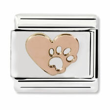 GENUINE Nomination Classic Rose Gold Heart Pawprint Charm 430104/12 / £18 RRP