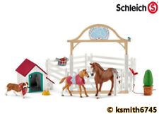 Schleich HANNAH'S HORSE SET WITH DOG, KENNEL & FENCE plastic toy farm pet animal