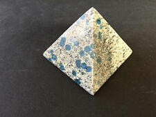 K2 Pyramid 60mm B015-01 Granite Azurite Pakistan Healing Crystal Carving Indigo