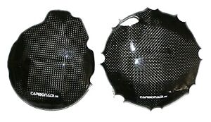 Suzuki SV650 DL650 99-02 2x Carbon Alternator Cover Clutch Cover Carbone Carbono