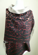 Heritage Cashmere stole black red animal leopard womens ladies shawl wrap NEW