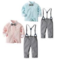 2pcs Toddler Kids Baby Boys Shirt Tops+Strap Pants Clothes Outfits Gentleman Set