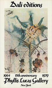SALVADOR DALI Sun Goddess Flower 39 x 23.25 Offset Lithograph 1979 Surrealism Su