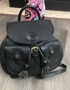 Vtg DOONEY & BURKE Glove LEATHER Drawstring PEBBLED Tassel BACKPACK + Keychain