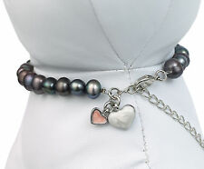 Black Pearl Pet Dog Necklace, Jewellery, Gift - Small - 20-27.5cm